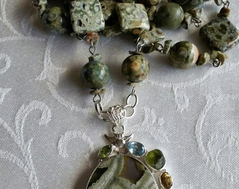 The Stone of Power and Peace                Long Necklace