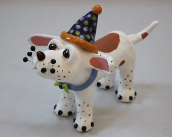 "Dog Sculpture ""Pete the Party Pup"" - Custom Pieces Available Upon Request"