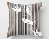 Throw Pillow Gray Line Stripe White Flowing Organic Floral Pattern Graphic Design Pillow Cover Bedroom Decor Couch Living Room Home Decor