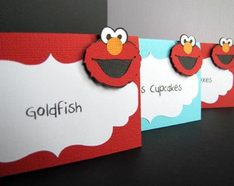 Elmo Party Food Tent Cards, Elmo Place Cards, Sesame Street Food Labels, Elmo Birthday Party, Elmo 1st Birthday, Elmo Food Labels, Set of 10