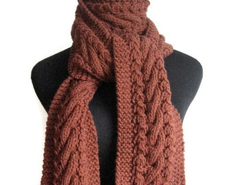 Hand Knit Scarf, The Stef Scarf, Rustic Heather Reddish Brown Cable and Lace Scarf,  Cable Knit Scarf, Winter Scarf, Fall Accessories