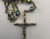 ON SALE Vintage AB Aurora Borealis Glass Bead Rosary 1960s