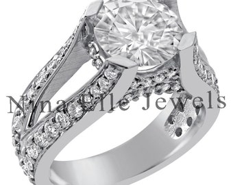 7mm round  cut MOISSANITE & diamonds spit shank style engagement ring 14K white gold R77