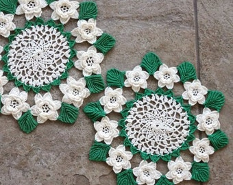 Vintage Crochet Rose Doily White Green Leaves 3D Flowers Two Sizes Set of Two