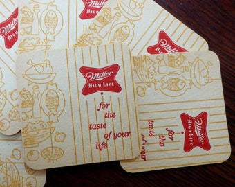 Vintage Beer Coasters Miller High Life For the Taste of Your Life Miller Brewing Company Milwaukee Wisconsin 1955