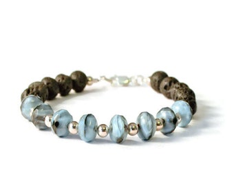 Blue Czech Glass and Natural Lava Stones Aromatherapy Diffuser Bracelet