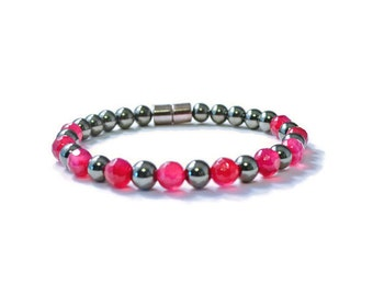 Black Magnetic Hematite Bracelet with Bright Pink Gemstones, Holistic Jewelry
