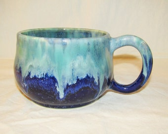 Pottery Chick soup mug in speckled blue, blues and greeens