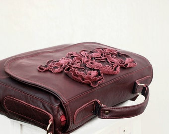 women Leather Bag, Laptop Bag, Briefcase, Leather office purse, Everyday Purse, Satchel, eggplant fall leather purse