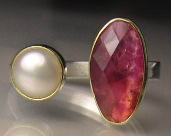 Open Face Tourmaline Ring, Rose Cut Pink Tourmaline and Pearl Ring, Sterling Silver and 18k Gold, Open Stone Cocktail Ring, size 6.5 - 6.75