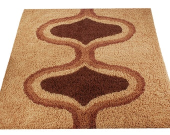 Mid-century danish Modern Rya style shag rug / carpet sz 5*7