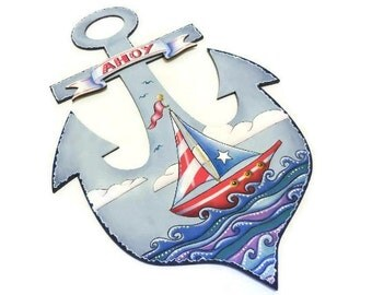 Nautical Boat Anchor Wooden Wall Decoration | Hand Painted Ship At Sea on Wooden Anchor