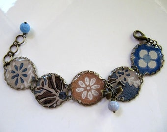 Vintage Wallpaper Charm Bracelet, Repurposed Recycled Jewelry, Flower Bracelet in Denim Blue, Brown and White, Frosted Agate and Bow Charm