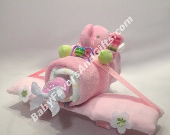 Plane Diaper Cake - Pink  or Blue - Adorable centerpiece or gift for baby shower
