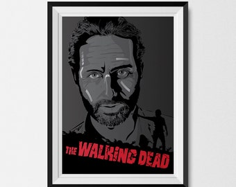 The Walking Dead, Rick Grimes, Comic Book, Portrait, Graphic Print, A3