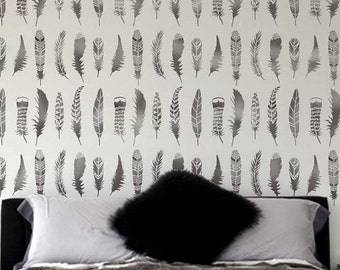 Feathers Allover Stencil Pattern - DIY Home Improvement - Better than Decals - Easy and Fun Wall Decor