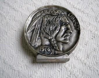 Vintage Collectible Indian Head Nickel Metal Bank