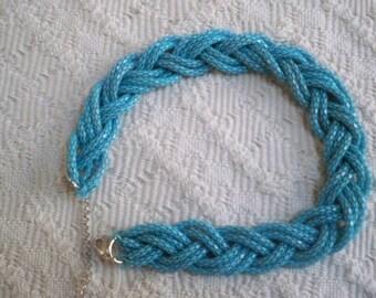 Vintage Jewelry Necklace Choker Aqua Braided Costume Jewelry