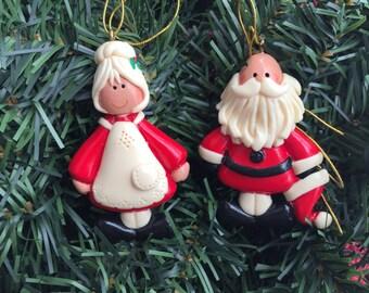 Mr and Mrs Santa Christmas Ornament Set
