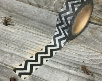 Washi Tape - 15mm - Black and White Chevron - Deco Paper Tape No. 549