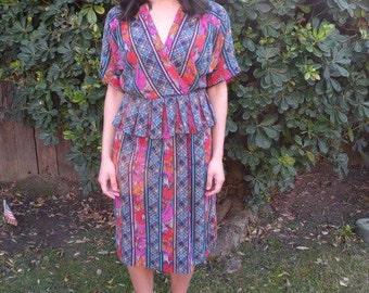 1990s Colorful Peplum Dress