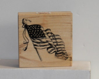 PSX American Flag Flying Rubber Stamp Rare