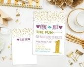 SALE. Printable Custom Glitter and Dots Birthday Invitation. Polka Dot Birthday Invite. Glitter Birthday Invitation. Girl Party Invite.