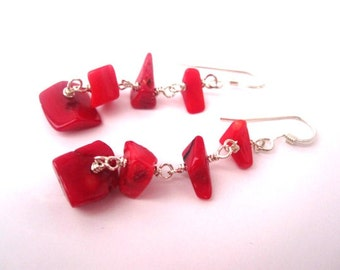 Red Coral Earrings, Red Coral Chips and Sterling Silver, Red Sterling Silver Earrings, Red Coral Jewelry, Coral Earrings, Red Earrings