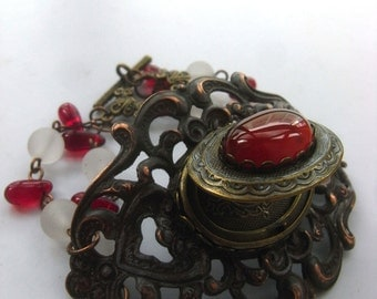 Victorian style bracelet , Keepsake bracelet, Photo Bracelet, Red Agate Bracelet, Black Lace Bracelet, Locket Jewelry, Locket Bracelet