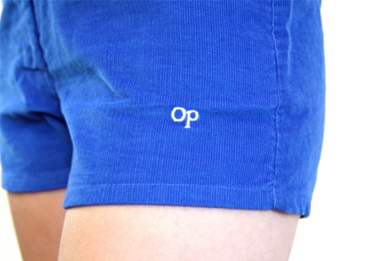 Vintage OP Shorts Corduroy 80s Royal Blue Ocean Pacific Surfer Skater High Waisted Front Pockets 70s to 1980s OP Surf Shorts Womens Size S