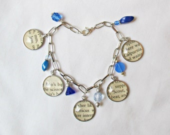To Kill a Mockingbird Charm Bracelet Blue Ombre Beaded Glass Charms. Jewellery Jewelry Silver Two Cheeky Monkeys Teens Women Cobalt Dangle