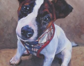 jrt Jack Russell Terrier dog art CANVAS print of LA shepard painting 8x10