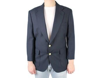Vintage 80s Blazer 40S Dark Midnight Blue Sports Coat Suit Jacket Wool Blend M Free US Shipping