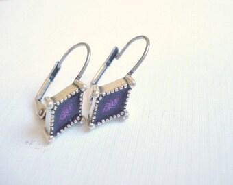 Purple Diamond Leverback Earrings Vintage Earrings