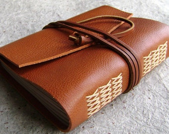 "Leather journal, 4"" x 6"", rustic orange brown, handmade journal by Dancing Grey Studio (1859)"