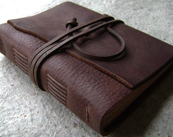 "Old world journal, distressed dark brown journal, 4"" x 6"", handmade leather journal (2139)"