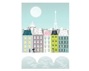 Paris Print, Paris Art Print Poster, Eiffel Tower Paris Skyline Wall Art Prints, Paris Cityscape Illustration, Nursery Prints Art. SPPPB1