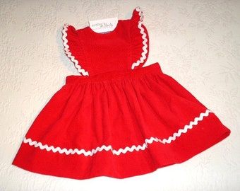 Red Jumper in Pinafore Style, made from Corduroy with rick rack trim.   Size 24 months/2T.  Ready to Ship.