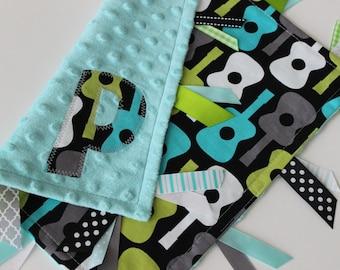 Taggie, blanket, personalized, baby, boy, gift, guitar, minky, ribbon, sensory, lovey, aqua, gray, black, green