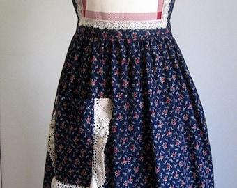 DRESS APRON Vintage Kitchen Pinafore Bib Skirt Cover Cotton Country Print CHINTZ