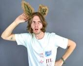 Deluxe ears headband - Long Brown Bunny Ears - Brown tweed