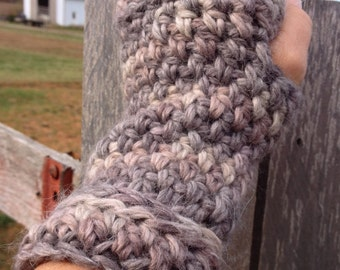 Simple Ridged Fingerless Mitts, Wrist/Hand/Arm Warmers, Alpaca Wool, Ready to Ship
