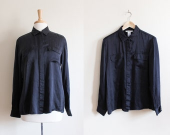 Vintage Black Silk Button Down Top