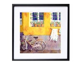 13  Bicycle Paintings Watercolor PRINT Florence Italy, Travel Painting road trip bike bicycling cycling artwork, Watercolour village,  BCBT