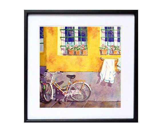 Bicycle Paintings Watercolor Print Florence Italy, Travel Painting road trip bike bicycling cycling artwork, Watercolour village,  18.