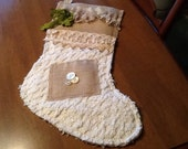 Christmas Stocking, chenille and burlap, vintage lace , cottage chic,