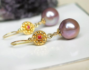Mauve Champagne Pearl Earrings | Freshwater Baroque Pearl - Red Sapphire in Solid 14k Yellow Gold - 24k Gold Vermeil Dangles | Ready to Ship