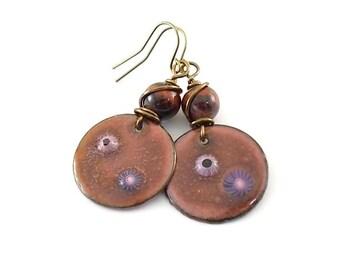 Metallic Red River Earrings - Enameled Earrings - Industrial Earrings - Metal Earrings - Boho Earrings - Artisan Earrings - Brass - AE093