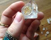 APOPHYLLITE Crystal Pyramid Tip Engraved Gold Reiki Symbols