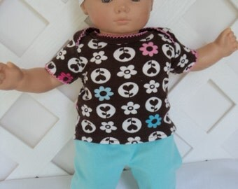 Doll Clothes,  Bitty Baby Girl   3 pc  Pants outfit  with headband and Leggings